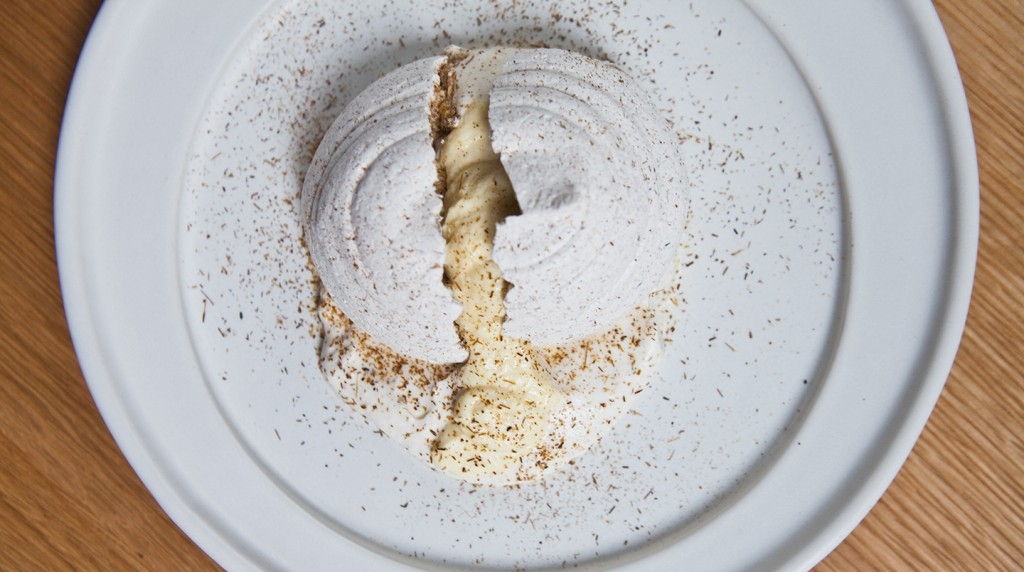 An Instant Classic: Cosme's infamous Corn Husk Meringue with Corn Mousse