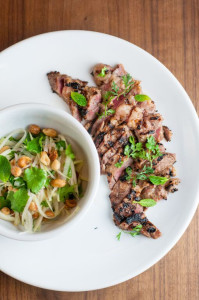 The grilled Iberico diafragma, marinated‎ in condensed milk and served with green papaya salad.