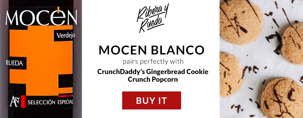 Mocen Blanco and Gingerbread Cookie Crunch Popcorn